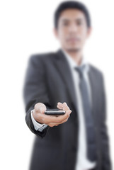 Businessman Holding touch screen mobile phone.