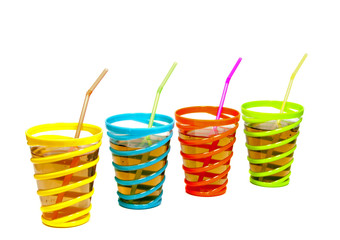 drinks in glasses with straw