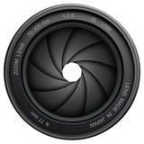 Fototapety Camera lens shutter, isolated on white.