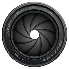 Camera lens shutter, isolated on white.