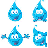 Water Drop Cartoon Mascot Characters 1