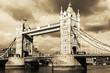Vintage view of Tower Bridge, London. Sepia toned.