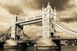 Vintage view of Tower Bridge, London. Sepia toned.