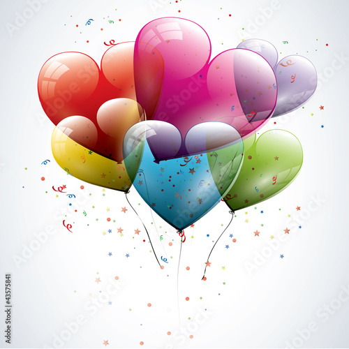 Transparent heart shaped birthday balloons