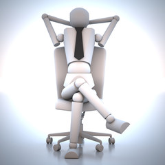 Businessman sitting on chair 3d illustration