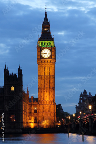 Illuminated Big Ben at night