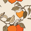 persimmon seamless pattern Asian Traditional Painting