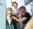 backstage hairdressing fashion with make-up artist