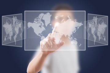 Businessman pushing Social Network world map.