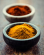 Curry powder and chili pepper in small containers