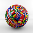 canvas print picture - Flag Globe with different country flags