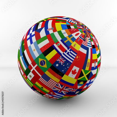 canvas print picture Flag Globe with different country flags