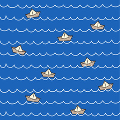 boats on the sea pattern. Vector