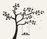 Flower love tree silhouette. Vector illustration