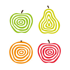 Stylized fruit icons. Vector