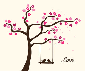 Flower love tree. Vector illustration