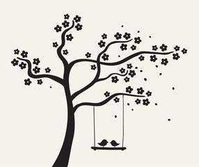 Flower love tree silhouette. Vector illustration