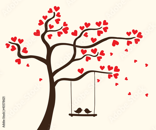 Naklejka Vector hearts tree
