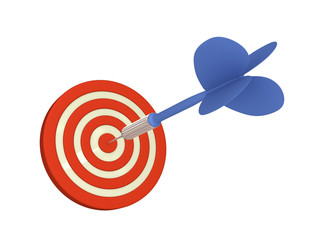 Blue arrow hits bulls eye (Isolated on White Background)