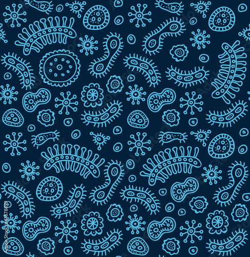 Seamless blue bacterium pattern. Vector