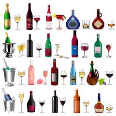 set bottle wine and goblet on white