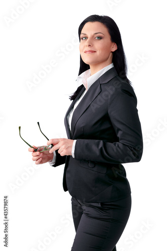 Proudly business woman with glasses in her hands