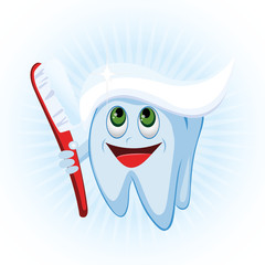 Happy cartoon tooth character with brush and toothpaste