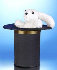 Bunny and black cylinder on blue background.