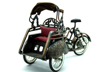 Rickshaw, Retro Bicycle with Carriage on White Background