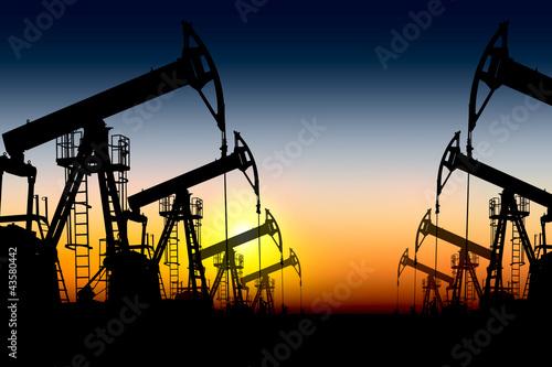 Leinwanddruck Bild silhouette oil pumps