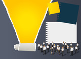 Fototapety Yellow template for advertising brochure with business people
