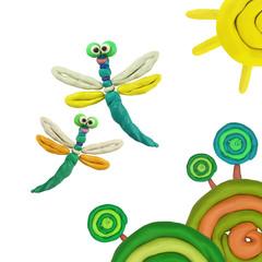Plasticine dragonflies