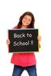 Happy school girl with chalk board