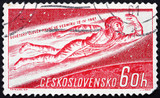 Postage stamp Czechoslovakia 1961 Man Flying into Space