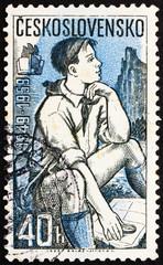 Postage stamp Czechoslovakia 1959 Pioneer Studying Map