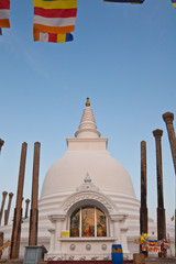 Veritical view of Thuparamaya dagoba in Anuradhapura, Sri Lanka