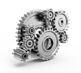 Steel gear wheels - tools and settings icon - Fine Art prints