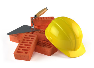 Trowel, Bricks and Construction helmet
