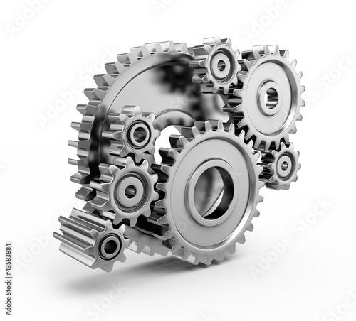 Leinwandbild Motiv Steel gear wheels - tools and settings icon