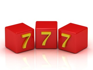 Lucky number seven on the red cubes