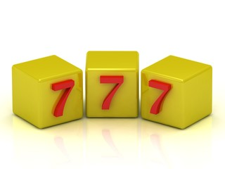 Lucky number seven on the yellow cubes