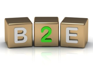 B2E Business to Employee symbol on gold cubes