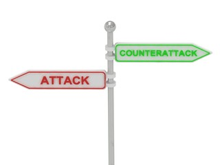 """Signs with red """"ATTACK"""" and green """"COUNTERATTACK"""""""