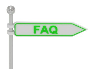 "3d rendering of sign with green ""FAQ"""