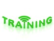 TRAINING  green sign with the antenna