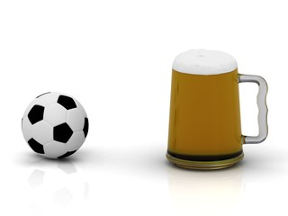 Small soccer ball and a big mug of beer