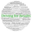 Driving for Results concept in word tag cloud