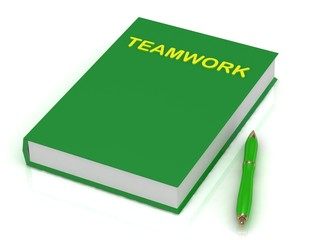 Green book on teamwork and a green pen