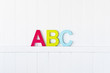 large painted ABC letters on a wall