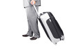 Man Walking with Travel Bag on the White Background